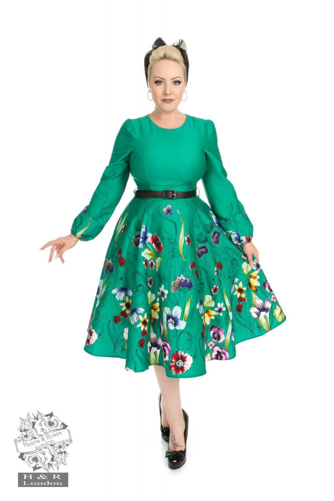 H&R utsvingt kjole Milana, Grønn med blomster Kjoledamen