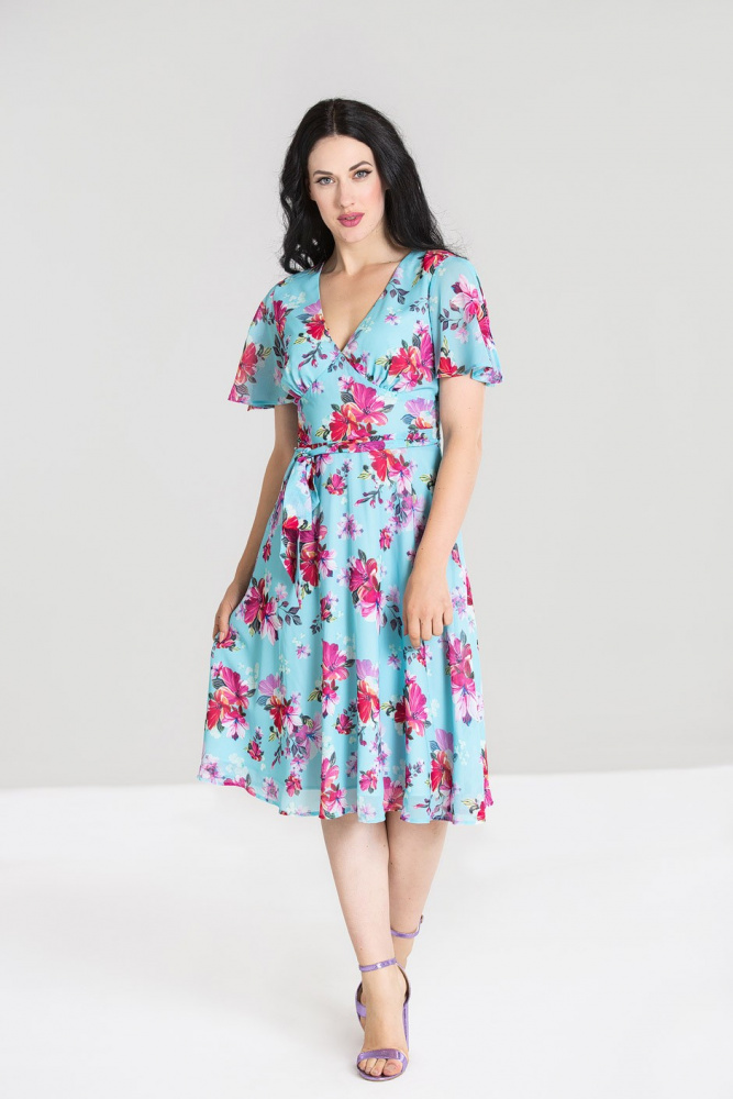 Hell Bunny kjole Primavera lysblå mblomster Kjoledamen